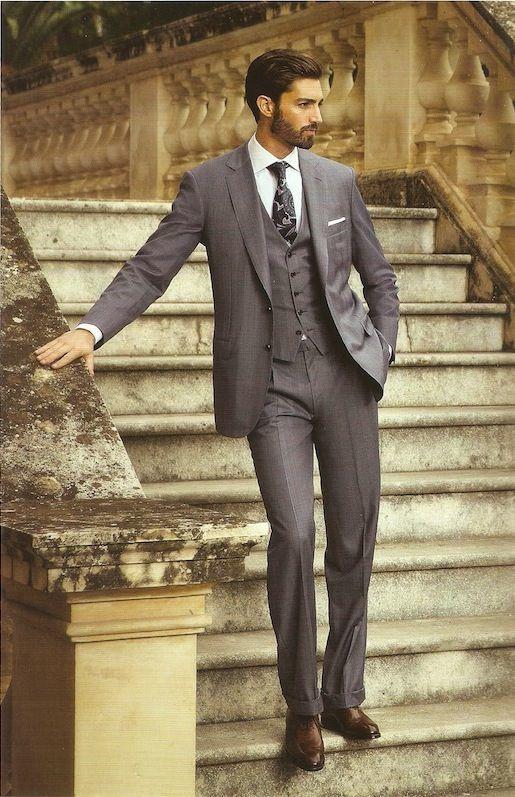 Men\'s Charcoal Three Piece Suit, White Dress Shirt, Dark Brown ...