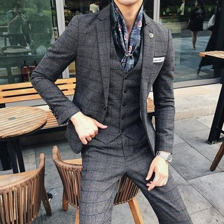 Navy Print Silk Scarf Outfits For Men: Consider pairing a charcoal check three piece suit with a navy print silk scarf for a casual kind of class.