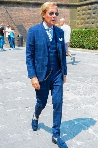 How to Wear Navy Sunglasses For Men: If you're a fan of casual combos, then you'll love this combo of a blue check three piece suit and navy sunglasses. To bring out a sophisticated side of you, introduce blue suede tassel loafers to your look.