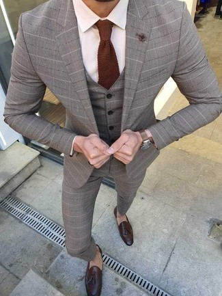 Brown Knit Tie Outfits For Men: Teaming a grey plaid three piece suit and a brown knit tie will create a sharp, masculine silhouette. Complete this look with dark brown leather tassel loafers to easily turn up the appeal of this look.