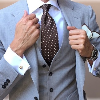 How to wear: grey three piece suit, white dress shirt, dark brown polka dot tie, white pocket square