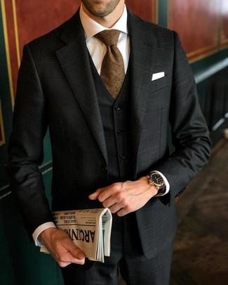 How to wear: black plaid three piece suit, white dress shirt, brown tie, white pocket square