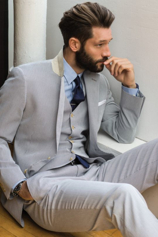 Men's Grey Three Piece Suit, Light Blue Dress Shirt, Navy Tie ...