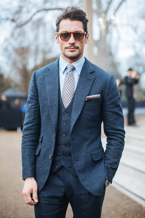 David Gandy wearing Blue Three Piece Suit, Light Blue Dress Shirt