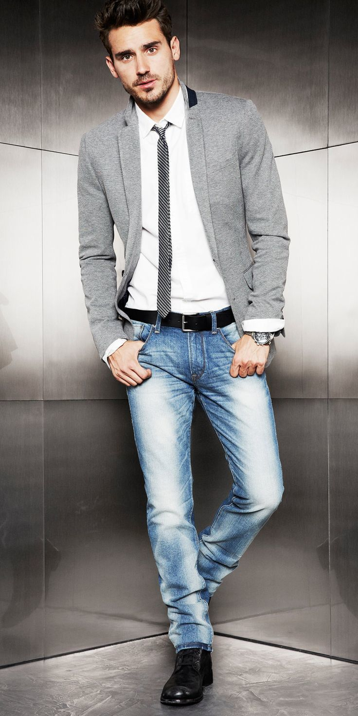 Black Blazer With Jeans Men Viewing Gallery