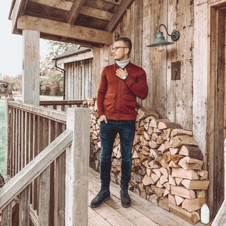 How to Wear a Grey Wool Turtleneck For Men: Choose a grey wool turtleneck and navy skinny jeans to create an interesting and current relaxed casual outfit. Charcoal suede casual boots are the most effective way to punch up your outfit.