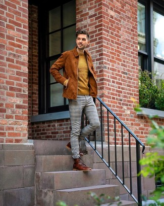 How to wear: tobacco suede bomber jacket, mustard crew-neck sweater, grey plaid chinos, brown leather casual boots