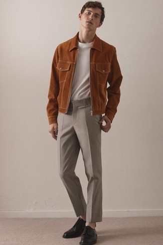 How to wear: tobacco suede bomber jacket, white crew-neck t-shirt, beige wool dress pants, black leather derby shoes