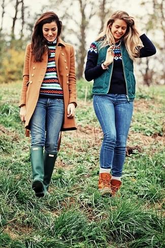 Women's Tobacco Coat, Navy Fair Isle Crew-neck Sweater, Blue ...