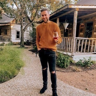 Black Suede Chelsea Boots Outfits For Men: To assemble a relaxed outfit with a street style finish, you can rely on a tobacco crew-neck sweater and black ripped skinny jeans. Complete this outfit with a pair of black suede chelsea boots to easily kick up the style factor of any outfit.