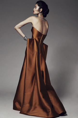 Consider wearing a tobacco evening dress and you'll be the picture of elegance.