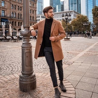 Men's Outfits 2020: For an effortlessly neat look, wear a tobacco overcoat with charcoal plaid chinos — these items go really well together. Not sure how to finish this look? Wear a pair of charcoal suede chelsea boots to ramp it up.