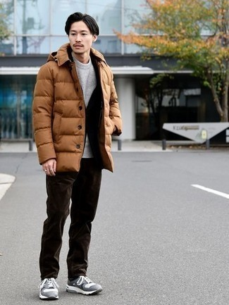 Suit Outfits: You'll be surprised at how extremely easy it is to put together this refined ensemble. Just a suit married with a tobacco puffer coat. Grey athletic shoes will contrast beautifully against the rest of the getup.
