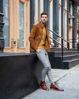 How to wear: tobacco suede shirt jacket, mustard crew-neck sweater, grey plaid chinos, brown leather casual boots