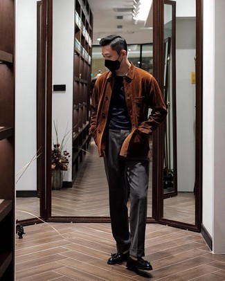 Charcoal Dress Pants Outfits For Men: Choose a tobacco corduroy shirt jacket and charcoal dress pants for masculine sophistication with a modern spin. If you're on the fence about how to round off, complete this outfit with a pair of black leather tassel loafers.