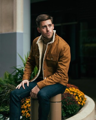 How to wear: tobacco shirt jacket, tan turtleneck, navy jeans