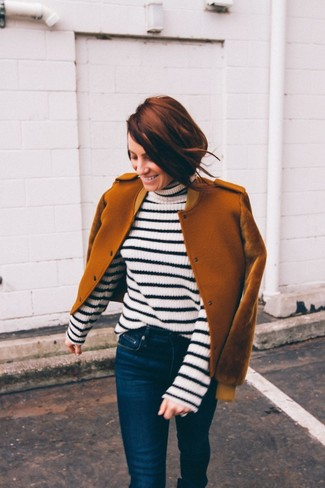 Women's Looks & Outfits: What To Wear In 2020: Who said you can't make a fashionable statement with an off-duty look? That's easy in a tobacco wool bomber jacket and navy skinny jeans.