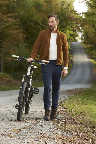 How to wear: tobacco fleece zip sweater, white long sleeve t-shirt, black chinos, dark brown high top sneakers