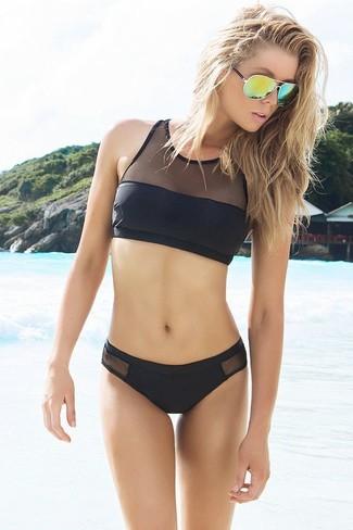 Top de bikini de malla negro de Alexander Wang