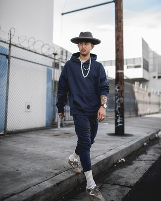 Charcoal Wool Hat Outfits For Men: Why not pair a navy track suit with a charcoal wool hat? As well as totally practical, these two items look great when worn together. Why not add a pair of brown suede low top sneakers to the mix for a sense of refinement?