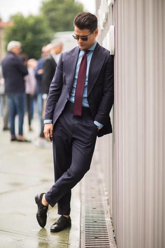 Moda para Hombres › Moda para hombres de 30 años Look de moda  Traje de  rayas verticales azul marino 94a623a8362