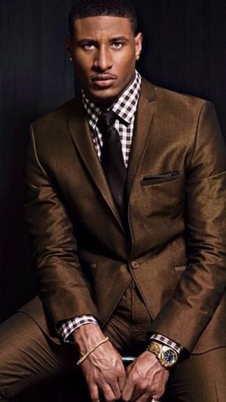 Pañuelo de bolsillo en marrón oscuro de Saint Laurent