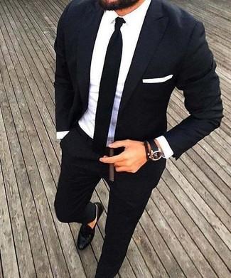 773ffd32 ... Look de moda: Traje negro, Camisa de vestir blanca, Mocasín de cuero  negro