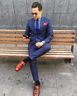 c4d1d24c Moda para Hombres › Moda para hombres de 30 años Look de moda: Traje azul  marino, Camisa de vestir de rayas verticales en blanco
