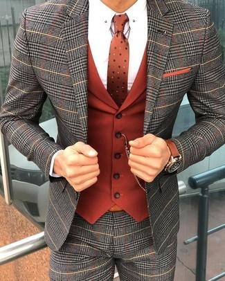 Cómo combinar: traje de tartán gris, chaleco de vestir naranja, camisa de vestir blanca, corbata a lunares naranja