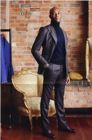 Traje en gris oscuro jersey de cuello alto azul marino mocasin burdeos large 21993