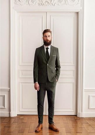 Look De Moda Traje Verde Oliva Camisa De Vestir Blanca