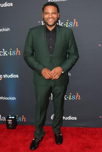 Traje verde oscuro camisa de vestir negra mocasin de cuero negro large 26365
