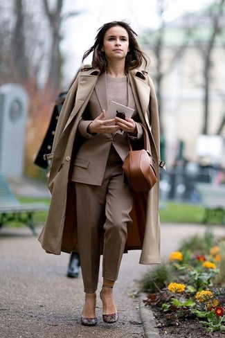How to wear: tan trenchcoat, tan blazer, beige crew-neck sweater, khaki dress pants