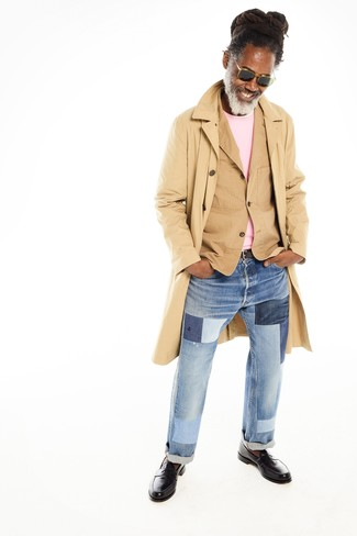 How to wear: tan trenchcoat, tan cotton blazer, pink crew-neck sweater, light blue patchwork jeans
