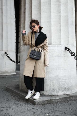 How to wear: beige trenchcoat, black blazer, grey crew-neck sweater, black wide leg pants
