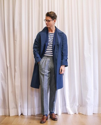 How to wear: navy trenchcoat, navy wool blazer, white and navy horizontal striped crew-neck t-shirt, grey wool dress pants