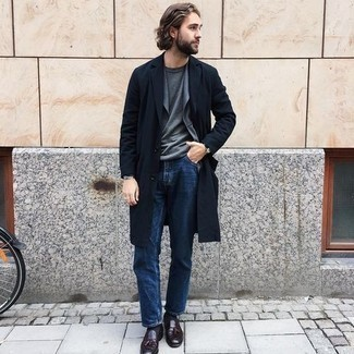 Grey Blazer with Blue Jeans Outfits For Men: This combo of a grey blazer and blue jeans is a real lifesaver when you need to look seriously stylish but have zero time to dress up. Burgundy leather tassel loafers are a surefire way to bring a sense of polish to this outfit.