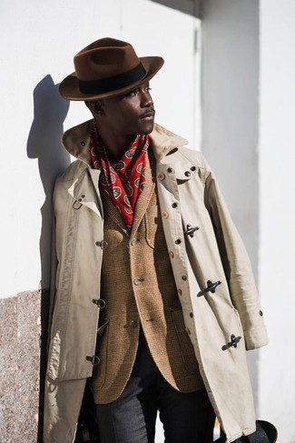 Men's Beige Trenchcoat, Brown Wool Blazer, Charcoal Dress Pants, Dark Brown Hat