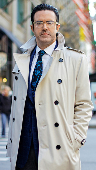 How to wear: beige trenchcoat, navy check blazer, white dress shirt, dark brown wool dress pants