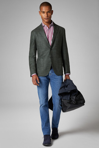 How to wear: navy trenchcoat, dark green blazer, white and red vertical striped dress shirt, blue jeans