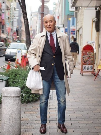How to Wear a Black Blazer For Men: Consider wearing a black blazer and blue jeans for casual sophistication with a rugged take. You could follow a classier route on the shoe front with burgundy leather derby shoes.
