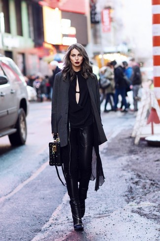 How to wear: black lightweight trenchcoat, charcoal blazer, black long sleeve blouse, black leather skinny jeans