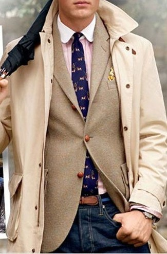 How to Wear an Orange Polka Dot Pocket Square: Go for a straightforward but at the same time neat and relaxed choice combining a beige trenchcoat and an orange polka dot pocket square.