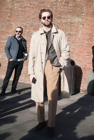 Dark Brown Socks Outfits For Men: This casual pairing of a beige trenchcoat and dark brown socks is a fail-safe option when you need to look good but have no extra time to spare. Bump up the wow factor of this outfit by finishing with a pair of dark brown suede loafers.