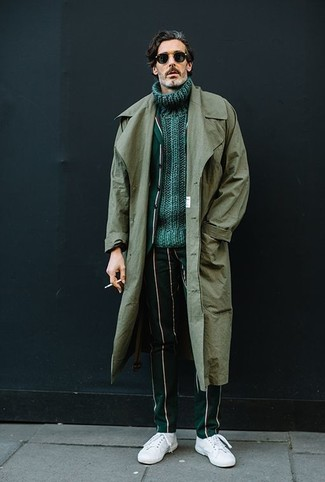 How to wear: olive trenchcoat, dark green vertical striped blazer, green knit turtleneck, dark green vertical striped dress pants