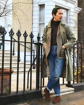 Beanie Outfits For Men: When the setting allows a laid-back ensemble, you can easily go for an olive trenchcoat and a beanie. Tap into some Ryan Gosling stylishness and polish off your look with a pair of brown suede brogues.