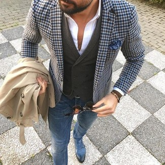No matter where you go over the course of the day, you'll be stylishly prepared in a trenchcoat and blue slim jeans. Blue leather double monks will bring a classic aesthetic to the ensemble.