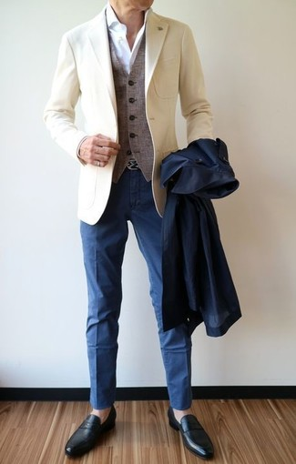 How to wear: navy trenchcoat, beige blazer, grey wool waistcoat, white dress shirt