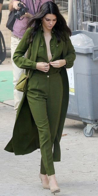 Kendall Jenner wearing Olive Lightweight Trenchcoat, Olive Button Down Blouse, Olive Dress Pants, Beige Leather Pumps