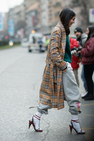 How to wear: tan plaid trenchcoat, dark green cable sweater, grey sweatpants, red check suede heeled sandals
